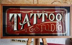 """Traditional classic Class Gilding # """"Tattoo Studio"""" glass sign #only Hand Painted!!!# Finish!!!# Maße ca.50x23cm #colors:1 shot#23k Gold Leaf# painted by switschi~2016~ #gilding #goldleaf..."""