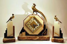 High Art Deco Clock Garniture Set Pheasant Colombes Bronze by Frecourt