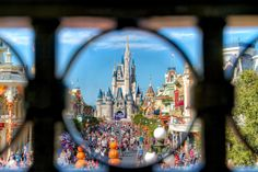 Creative shot of the Cinderella Castle at the Magic Kingdom - Walt Disney Disney Vacations, Disney Trips, Disney Parks, Walt Disney World, Vacation Places, Vacation Destinations, Parc Disneyland, Disneyland Photos, Disney World Magic Kingdom
