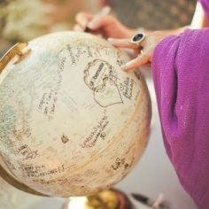 A roundup of fresh ideas for travel themed weddings including a globe guest book (Pic via Elizabeth Anne Designs)