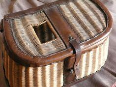 Rare et beau panier de pêche osier et cuir (type américain) - ARTEMISIA auctions - 04/06/2011