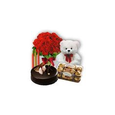 Make your love one's day more special send this beautiful combo .This beautiful Combo arranged with 10 roses & delicious 500 gm cake ,chocolates and teddy is perfect for your occasion.