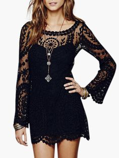 Super cute lacey black dress for summer! Short Lace Summer Dress. This is a two layer dress, solid color underneath with over layer of sheer lace. This dress comes in two colors, black and Ivory. Has long bell sheer lace sleeves. Has a lot of stretch so it can move with you. #summerlaceblackdress #lacedress #littleblackdres #summerdress