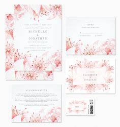 Gorgeous pink floral watercolor wedding invitations. So fresh and pretty! | Pretty Wedding Blog