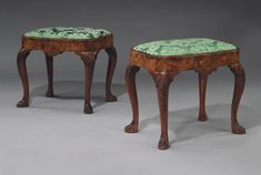 c1730 A PAIR OF GEORGE II BURR WALNUT STOOLS POSSIBLY BY GILES GRENDEY, CIRCA 1730 Price realised USD 86,500