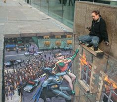 Creative Chalk Art in the Streets by Julian Beever & More. Incredible images drawn on the streets using chalk. The Chalk Art seems to jump out of the ground. Amazing and Creative Chalk Illusion Art. 3d Street Art, Amazing Street Art, Street Art Graffiti, Street Artists, Street Mural, Urban Graffiti, 3d Sidewalk Art, Illusion Kunst, Pavement Art