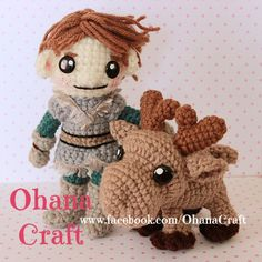 Crochet Frozen dolls and patterns ----Young Kristoff and Sven the baby reindeer https://www.facebook.com/OhanaCraft