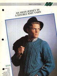 55 Creative Knitting Man's Pattern 55 : Aran-style Jersey in Double Knit Yarn (40-42in) Pamphlet – 1986 Creative Knitting, Men Sweater, Sweaters, Fashion, Moda, Fashion Styles, Men's Knits, Sweater, Fashion Illustrations