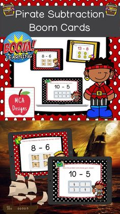 My Pirate Subtraction Digital Task Card set includes 40 task cards which are accessed via Boom Learning. Each digital task cards focuses basic subtraction facts 0-20. All task cards are accented with bright colors and pirate themed graphics. #teacherspayteachers #tpt #boomcards #boomlearning #subtraction School Resources, Learning Resources, Teacher Resources, Classroom Resources, 1st Grade Activities, 2nd Grade Classroom, Interactive Learning, Pirate Theme, Teacher Favorite Things
