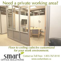 Glass office partitions are the perfect design enhancement in creating privacy for any modular office. For more information call Smart Office Solutions at: 1 Office Interior Design, Office Interiors, Office Space Planning, Glass Office Partitions, Used Office Furniture, Modular Office, Smart Office, Office Cubicle, Library Design