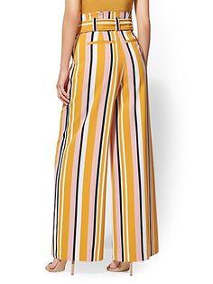 Avenue Pant - Petite Stripe Palazzo - New York & Company Flowy Pants, Skirt Pants, Frock Fashion, Fashion Pants, Pallazo Pants Pattern, New Dress For Girl, Floral Evening Dresses, Capri Trousers, Blouse And Skirt