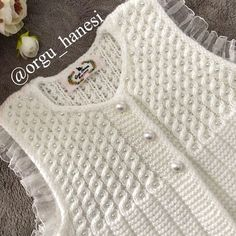 Discover thousands of images about Nursel Akova ( Baby Sweater Knitting Pattern, Knit Vest Pattern, Baby Knitting Patterns, Lace Knitting, Crochet Girls, Crochet Woman, Crochet Baby, Baby Pullover, Knitting For Kids