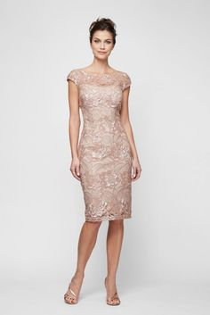Knee-Length Sequin Lace Sheath with Cap Sleeves Style Rose Gold, 8 Wedding Guest Dresses Summer Mother Of The Bride Dresses, Mother Of Bride Outfits, Mother Of The Bride Gown, Mother Of Groom Dresses, Bride Groom Dress, Bride Gowns, Mothers Dresses, Grooms Mom Dress, Mob Dresses