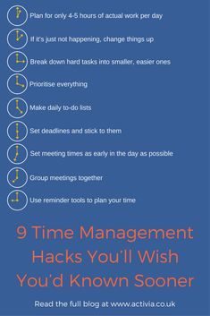 9 Time Management hacks that you will wish you had known sooner. #timemanagement