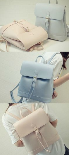 Hase Babe - Drawstring Faux Leather Backpack US$27.98