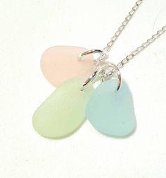 Genuine Sea Glass Necklace Trio Of Pink Sea Foam And Aqua Blue Seaglass