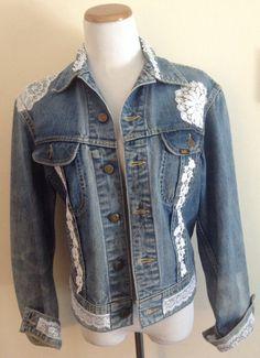 Make an upcycled boho jacket by adding lace & trims to a denim jacket.