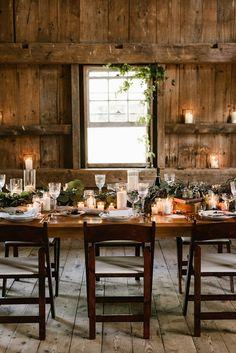 Fall barn wedding decor