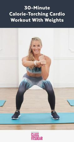 Grab a pair of free weights, and get ready to torch calories with this challenging at-home cardio workout from trainer Danielle Pascente, creator of the