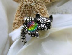 Sterling Silver Cat Ring Swarovski Borealis Crystal Ball Figural , to purchase double click on picture.