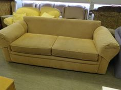 Beige / coffee 3 seater sofa, just needs some scatter cushions ---------------- £25 (pc736)