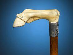 Ivory Carved Horsehoof Walking Stick ~ M.S. Rau Antiques
