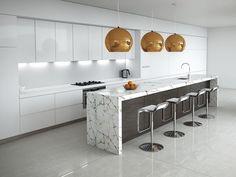 Carrara kitchen: White marble island, dark timber, copper accents