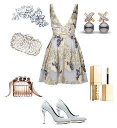 """#silver # gold"" by sanikova on Polyvore featuring Notte by Marchesa, Natasha Couture, Oscar de la Renta and Stila"