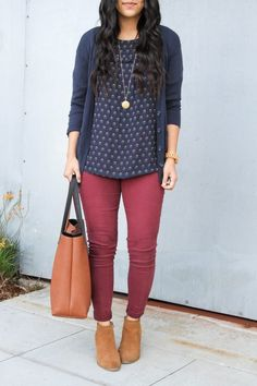 7108b02721 5 Put Together Casual Fall Looks. Maroon Cardigan OutfitBurgundy Jeans  OutfitFloral Blouse ...