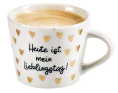 Goldtasse Espresso / Schreibkram Manufaktur Lieblingstag 23390298 kika.at Love Is In The Air, Mugs, Tableware, Romantic Ideas, Gift For Boyfriend, Valentines Day, Tablewares, Dinnerware, Tumblers