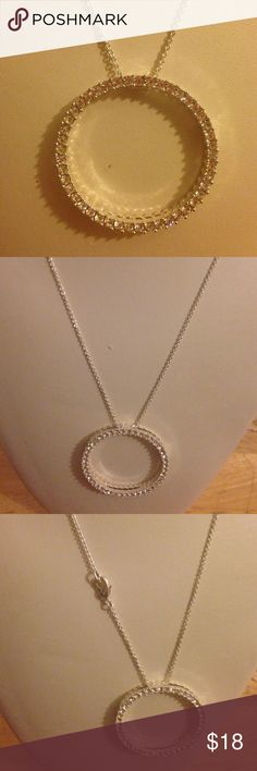 Circle crystal necklace Unique silver tone new with out box circle crystal necklace  Jewelry Necklaces