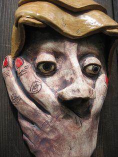 Oops Ceramic Wall Mask by Leslie Hagen  #ceramicmask  #stonewaremask  #lesliehagen