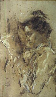 """Antonio Mancini (Italian, 1852-1930) - """"Donna in lettura"""" (Woman reading), 1907-08 - Charcoal and pastel on paper - Galleria Ricci Oddi, Piacenza (Italy)"""