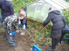Raking over the soil in preparation for planting seedlings at Orford Primary!