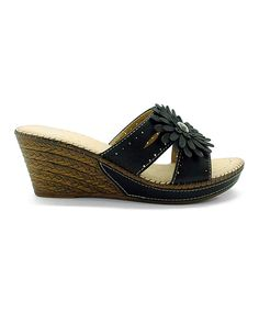 Another great find on #zulily! Betani Black Flower Heily Wedge by Betani #zulilyfinds
