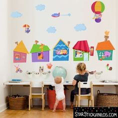 Vinilo infantil Casitas de animales. Baby wall decal