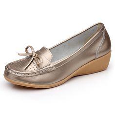 women leather shoes metalic bronze