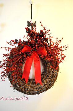 Christmas Wreath  red passion by AMMOUDIA on Etsy, $58.00