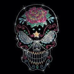 Evil Sugar Skull Day of the Dead Sugar Skull Rhinestone Studs Adult Unisex Short Sleeve T Shirt 15619 Sugar Skull Shirt, Sugar Skull Tattoos, Skull Shirts, Candy Skulls, Sugar Skulls, Crane, Totenkopf Tattoos, Sugar Skull Design, Skull Pictures