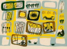 "Illustration ""1001 Night"" - 2010 handprint (linoleum) By Maedeh Asgharpour"