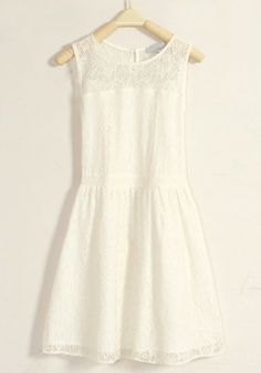 White Hollow-out Pleated Button Lace Dress