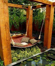 Hanging outdoor bed