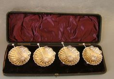 Set of Four Antique  Shell Shaped Sterling Silver Salt Cellars & Spoons  in Box