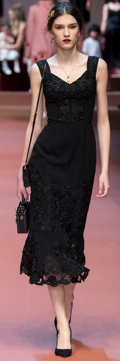 Dolce & Gabbana ~ Fall Black Sleeveless Maxi Dress w Lace Hem 2015