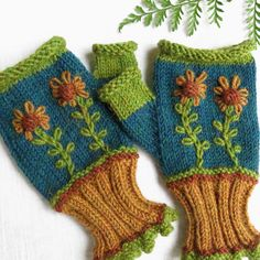 Handmade Gloves / Embroidered Ski Accessory / Hand Knit Alpaca Wool / Texting Mittens / Winter Wrist Warmers / Made in USA Fingerless Gloves