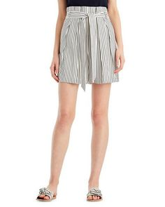 Jason Wu Striped High-Waist Paperbag Shorts
