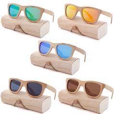 Natural Bamboo Sunglasses Polarized Cat Eye Sunglasses Women Kids UK UV400