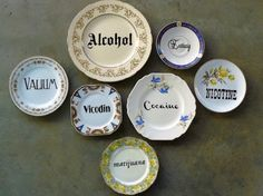 Seven Deadly Hits hand painted vintage china by trixiedelicious