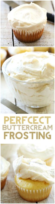 This Classic Buttercream Frosting recipe is perfection! Perfect consistency and perfect flavor! This is my go-to frosting recipe!: