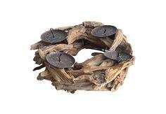 Base de madera con portavela Interior Exterior, Firewood, Stuffed Mushrooms, Base, Texture, Crafts, Grand Designs, Wood, Interiors